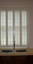 Plantation Shutters - Manchester Kitchen - Silk White