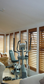 Plantation Shutters - Media City Western Red Cedar - Oiled