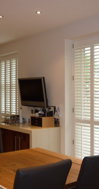 Plantation Shutters - Lancashire Patio Door - Silk White