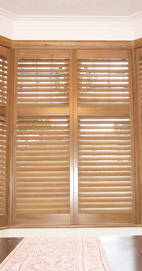 Plantation Shutters - Manchester Bay Window - Pecan Nut