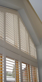 Plantation Shutters - Lancashire Apex Barn Window - Creamy