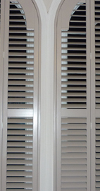 Plantation Shutters – Manchester Arched Shutters – Farrow & Ball Elephant's Breath